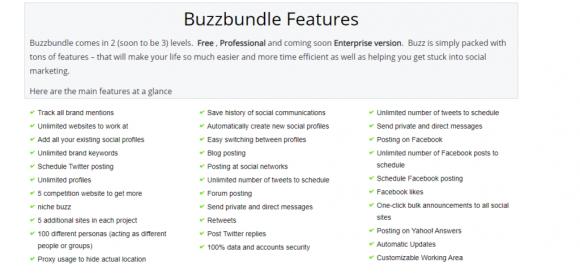 BuzzBundle Features
