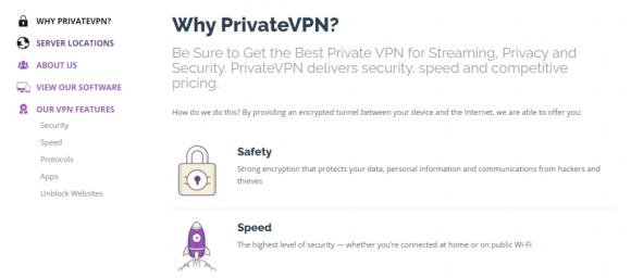 PrivateVPN Features