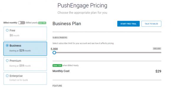PushEngage Pricing