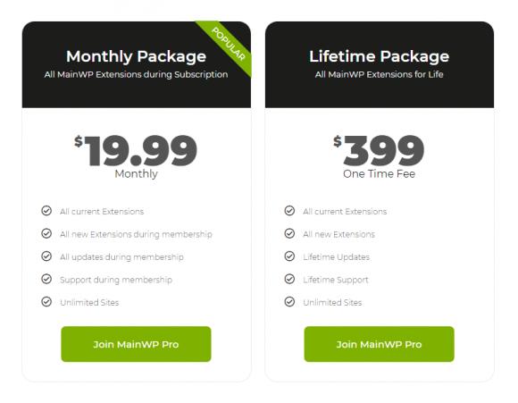 MainWP Pricing