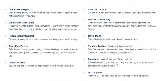 Features of Parallels Desktop for Mac